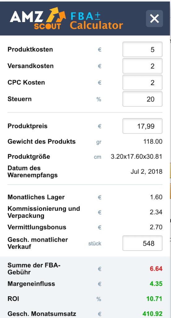 FBA Rechner AMZScout Profitabilität Gebühren Kalkulation Chrome Extension