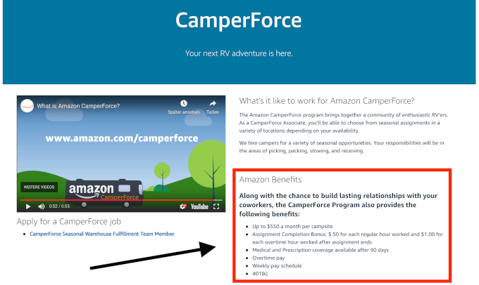 Camper Force Benefits