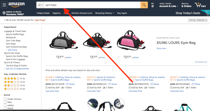 Gym Bags On Amazon