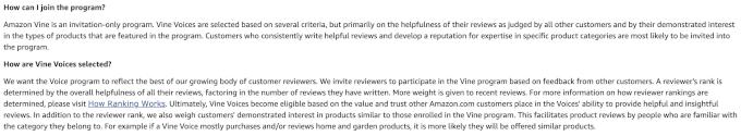Amazon Vine Admission requirements