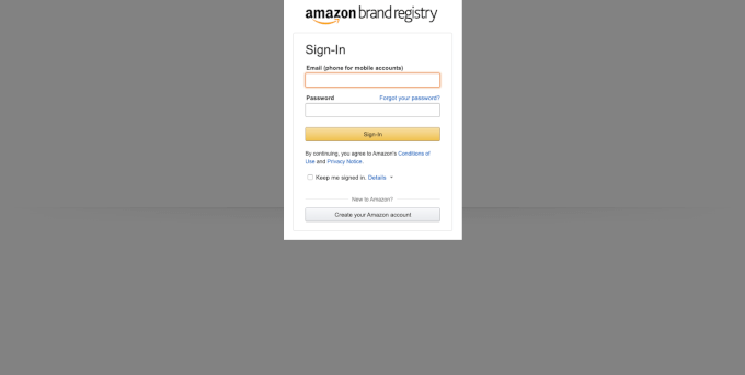 Amazon Brand Registry sing in