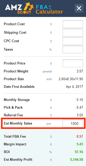 AMZScout FBA Calculator Chrome Extension Monthly Turnover
