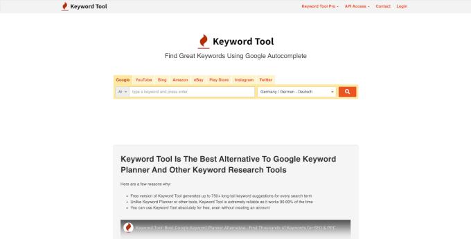 KeywordTool Website