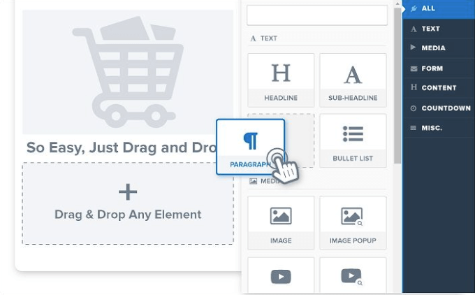 Clickfunnels Drag and Drop Editor