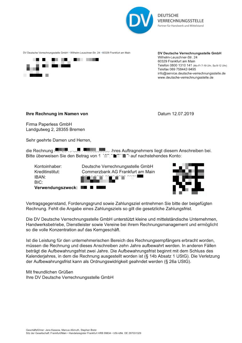 Rechnung im Namen der Paperless GmbH an einen Kunden über die Deutsche Verrechnungsstelle