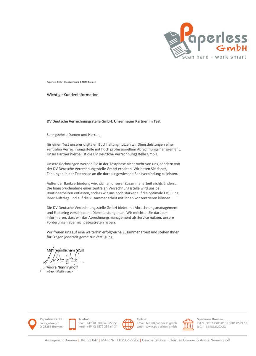 Kundenanschreiben, wenn die Rechnung mit dem Logo der Deutsche Verrechnungsstelle an den Kunden geschickt wird.