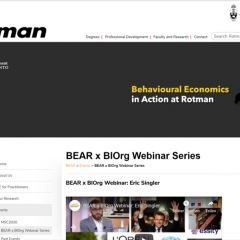 Resource: BE webinar series from the Rotman School of Management, Toronto