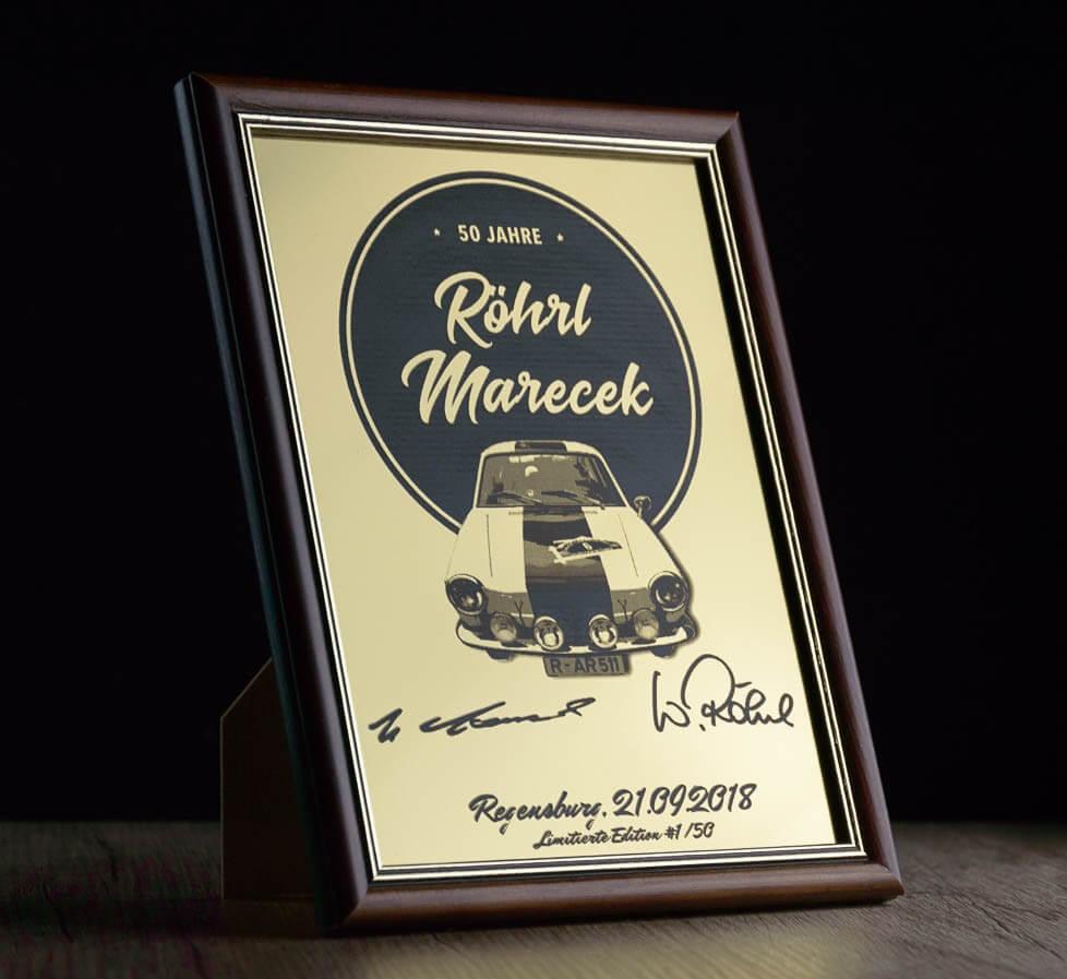 Limitierte Erinnerungstafel anlässlich 50 Jahren Röhrl/Marecek