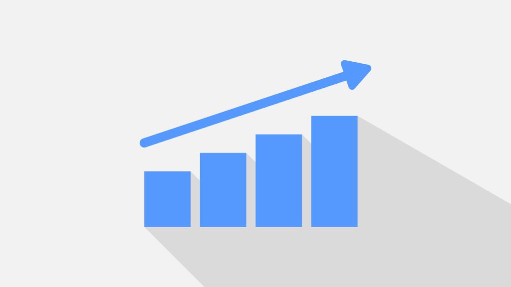 Graph mit drei Balken und steigender Tendenz