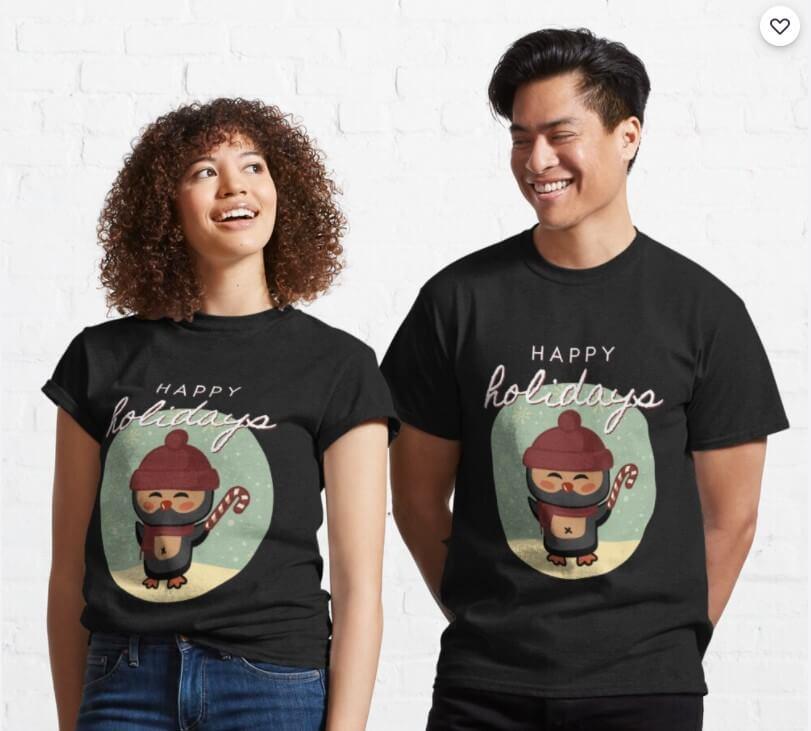 Zwei Menschen tragen Weihnachts-T-Shirts