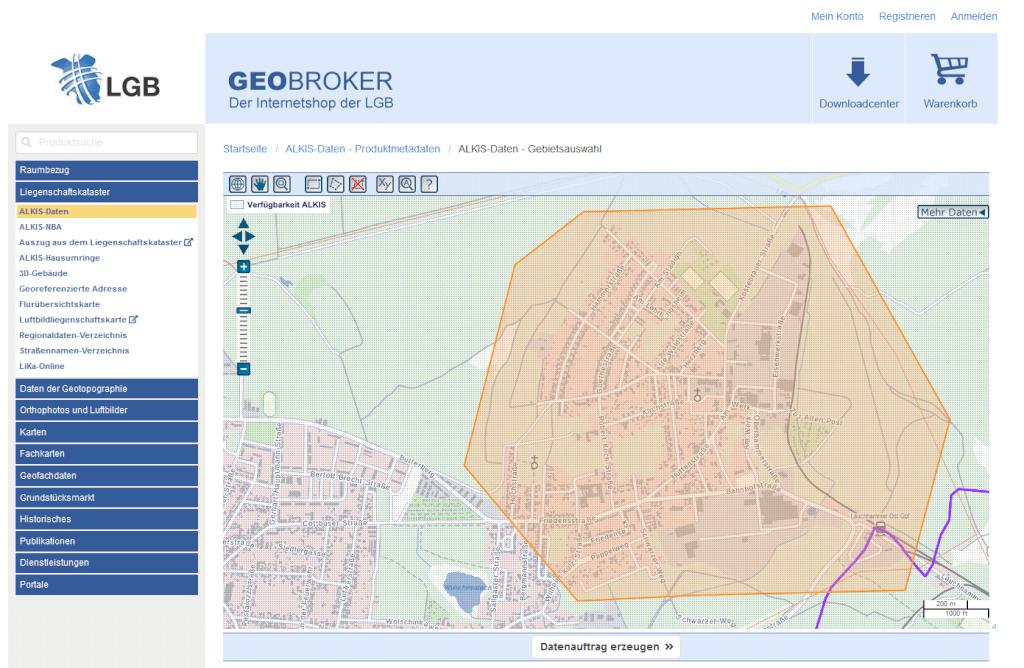 Datenbereich im Geobroker ist frei waehlbar