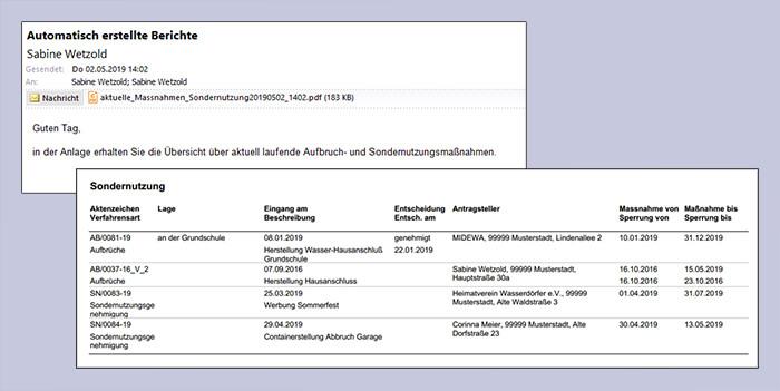 Zyklische Auswertungen über aktuelle Verwaltungsverfahren per E-Mail