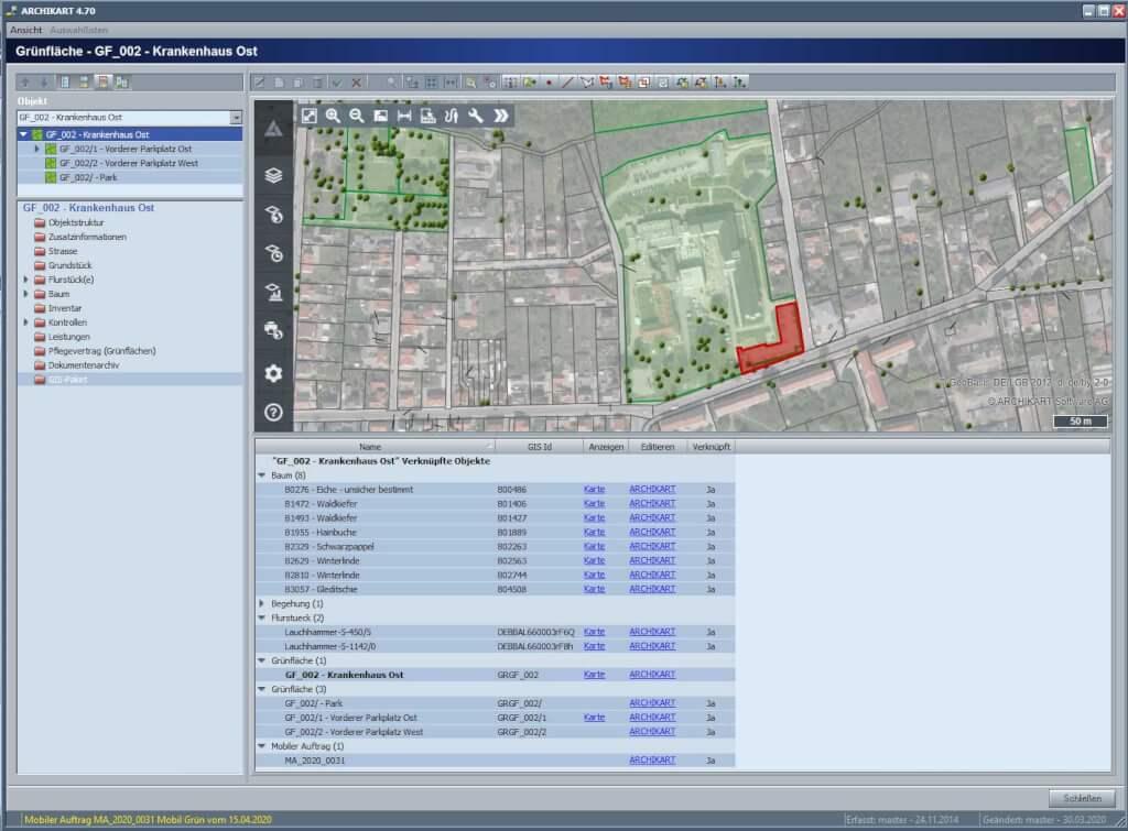 GIS Paket mit Auskunft auf Gruenflache Web