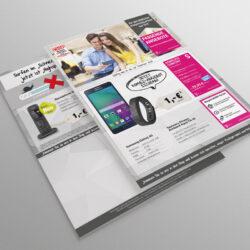 Für die Telekommunikationsbranche wurde ein vierseitiger Flyer gestaltet. Hauptsächlich werden Tarife der Telekom beworben. Die Gestaltung ist in grau und magenta gehalten.