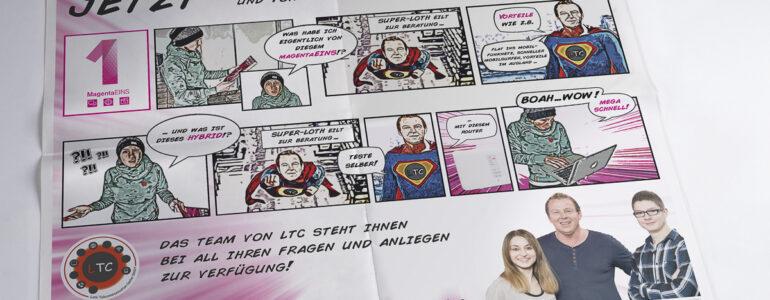 Um MagentaEINS und Hybrid von der Telekom vorzustellen habe ich hier ein Comic erstellt welches die Vorteile aufzeigt. Der Comic-Stil ist wie bei den originalen Action-Comics.