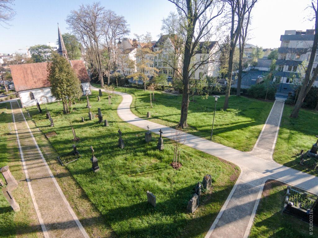 Luftaufnahmen des alten städtischen Friedhofs Fulda