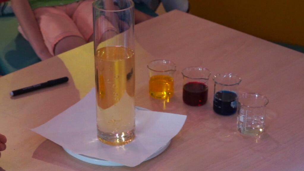 Die Zutaten für die Lavalampe: Pflanzenöl, Wasser und Farben (hier Druckertinten)