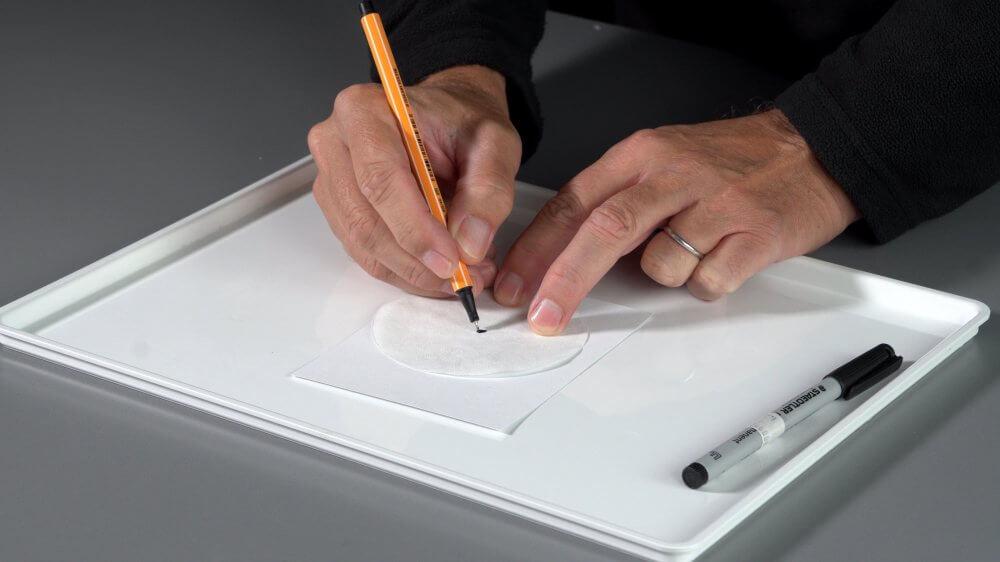 Wir malen einen Fleck mit einem wasserlöslichen schwarzen Filzstift auf Filterpapier