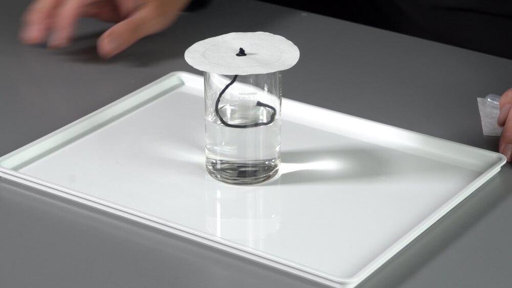 Mithilfe Kapillarkraft befördern wir das Wasser auf das Filterpapier