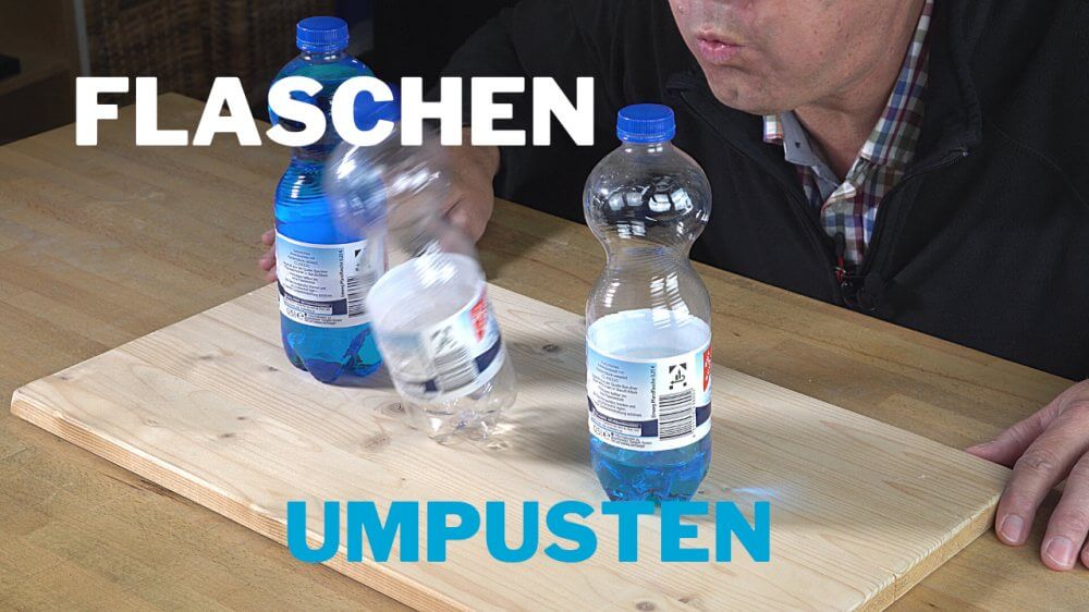 Flaschen fallen um - Gleichgewichts-Experiment