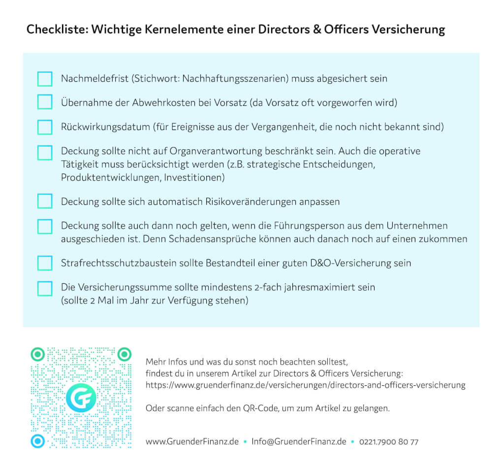 Directors and Officers Versicherung Checkliste