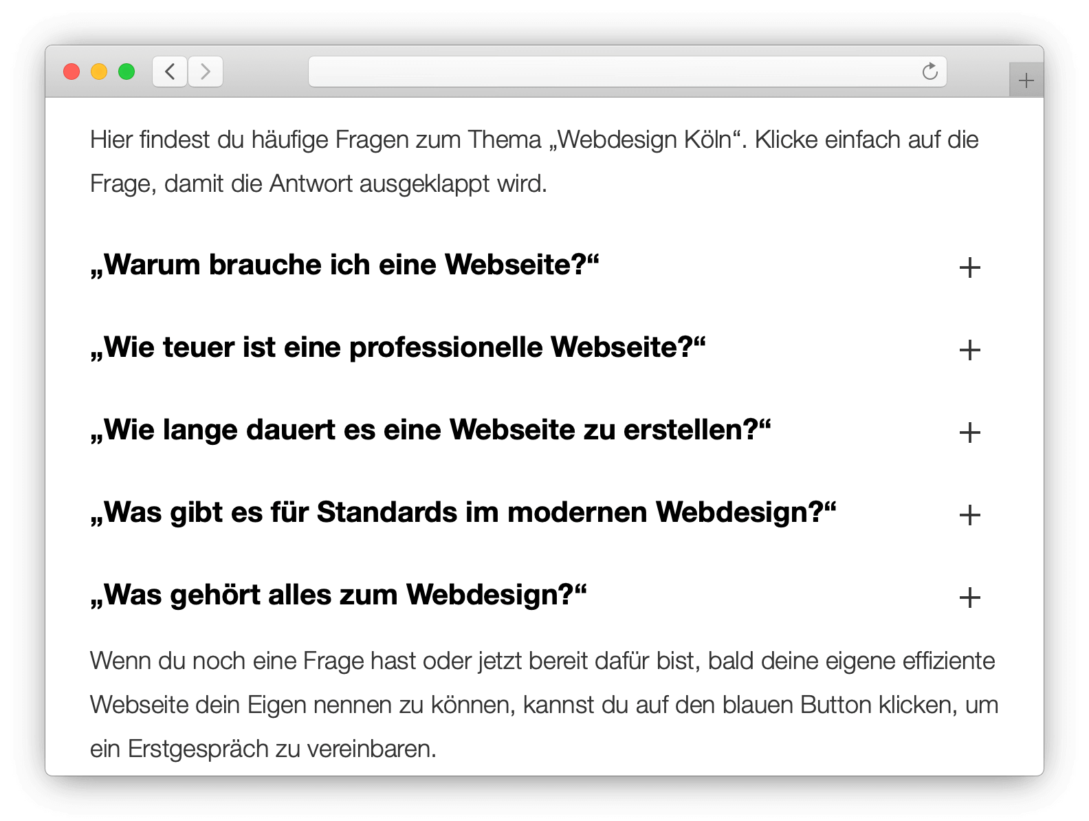 webdesign faq