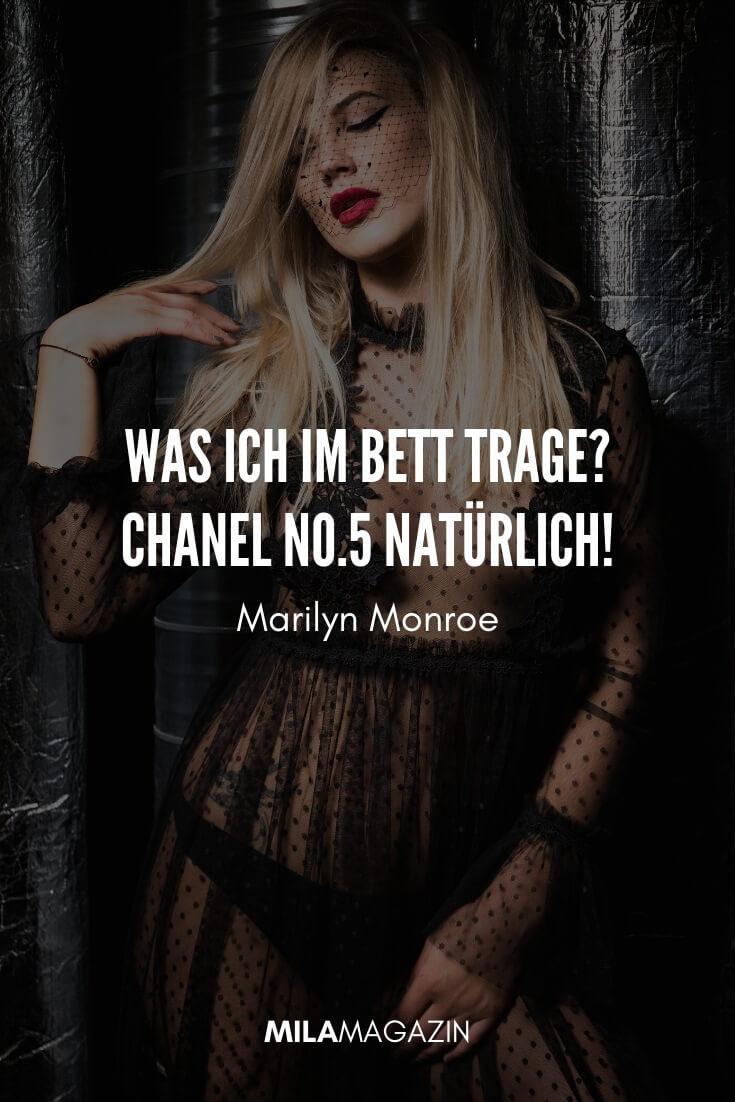Was ich im Bett trage? Chanel No.5 natürlich! #Zitat von Marilyn Monroe
