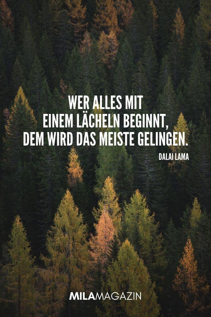 Wer alles mit einem Lächeln beginnt, dem wird das meiste gelingen. (Dalai Lama) | MILAMAGAZIN | #whatsapp #status #sprueche #quotes