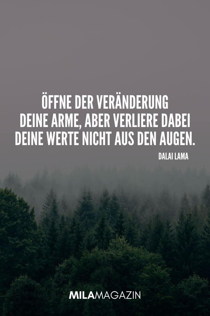 Öffne der Veränderung deine Arme, aber verliere dabei deine Werte nicht aus den Augen. (Dalai Lama) | MILAMAGAZIN | #whatsapp #status #sprueche #quotes