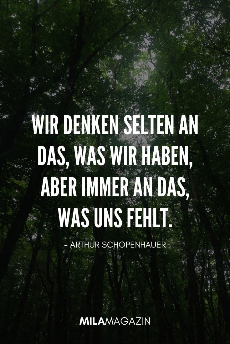 Wir denken selten an das, was wir haben, aber immer an das, was uns fehlt. - Arthur Schopenhauer | 35 schöne Status-Sprüche | MILAMAGAZIN
