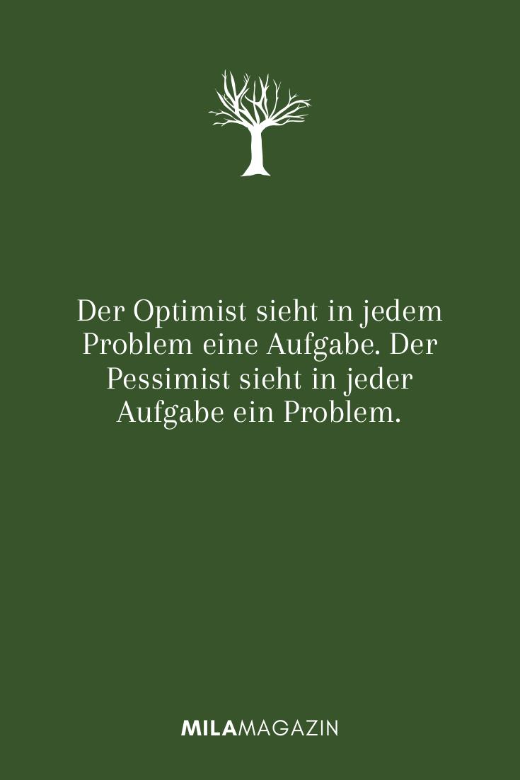 Der Optimist sieht in jedem Problem eine Aufgabe. Der Pessimist sieht in jeder Aufgabe ein Problem.