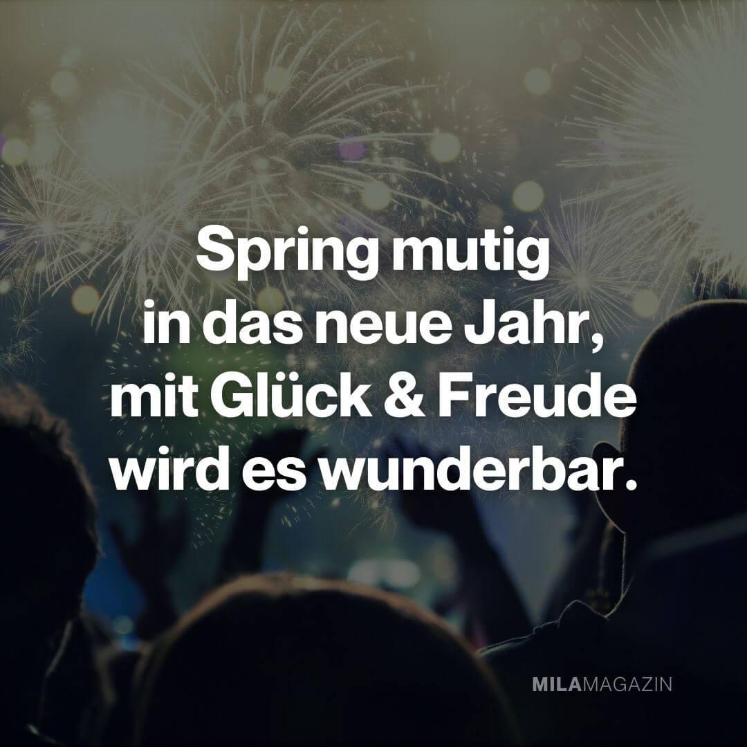 Spring mutig in das neue Jahr, mit Glück und Freude wird es wunderbar.|Neujahrswünsche