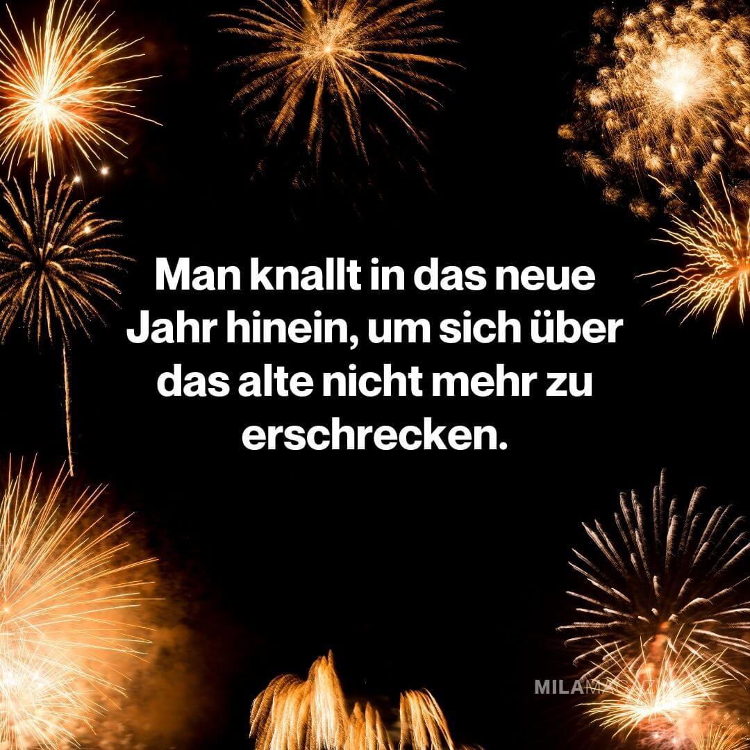 Man knallt in das neue Jahr hinein, um sich über das alte nicht mehr zu erschrecken.|Neujahrswünsche