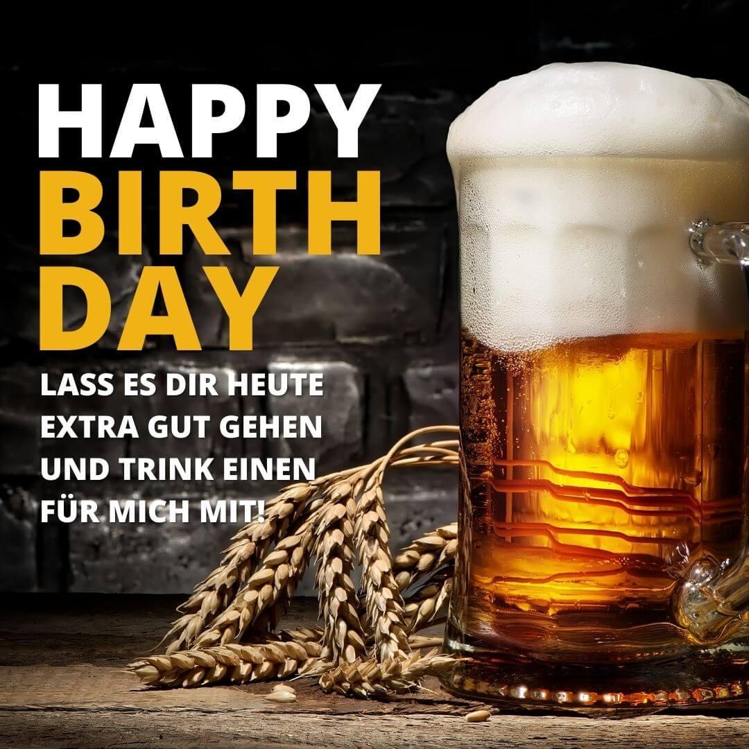 Geburtstagswunsch mit Bier und Hopfen