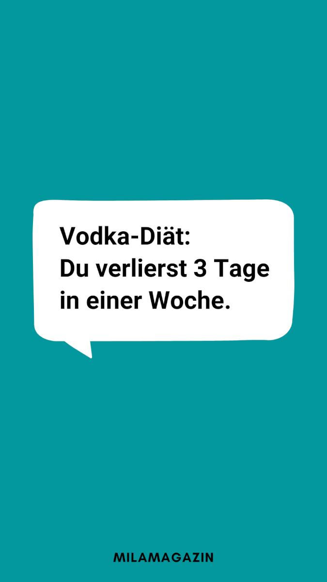 Vodka-Diät: Du verlierst 3 Tage in einer Woche.
