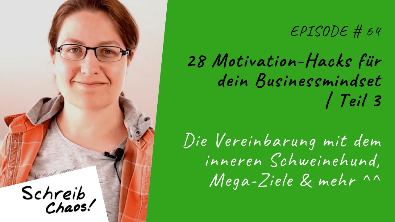 28 Motivation-Hacks für dein Businessmindset Teil 3: Die Vereinbarung mit dem inneren Schweinehund, Mega-Ziele & mehr ^^