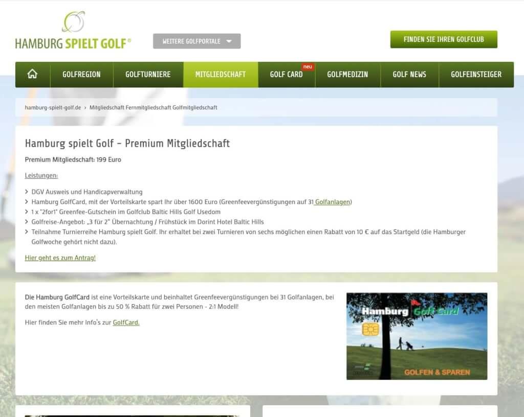 Hamburg spielt Golf - Premium Mitgliedschaft