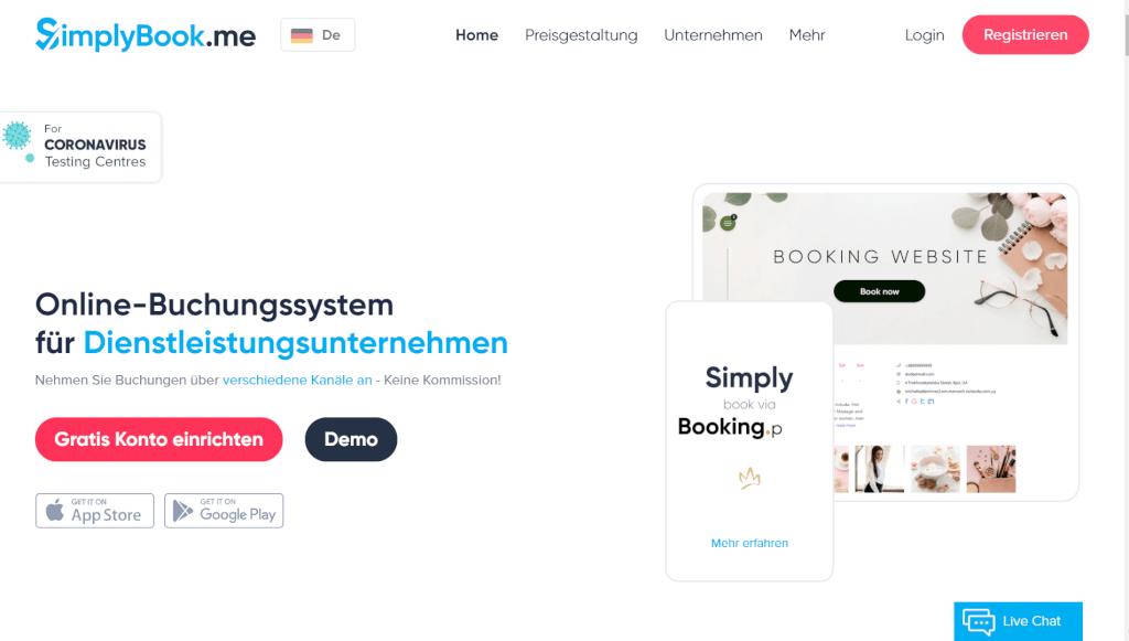 Gratis Online Buchungssystem mit Buchungskalender SimplyBook me