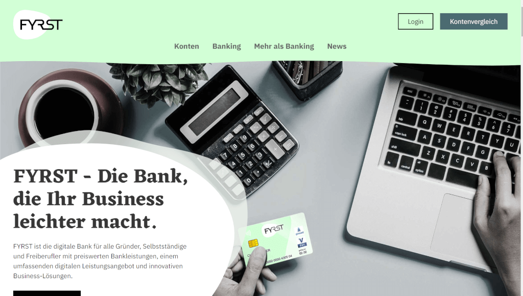 Digitale Bank fuer Unternehmer Freiberufler I FYRST