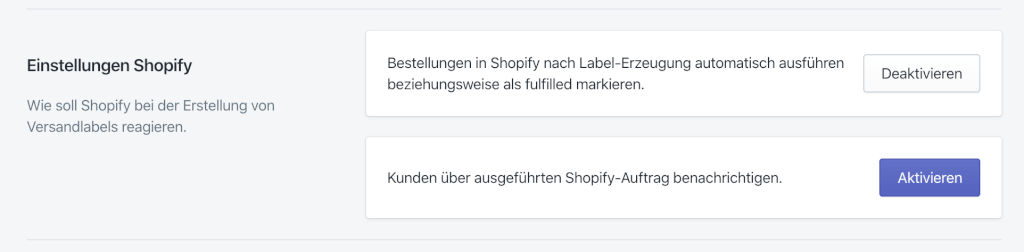 Shopify Fulfillment Einstellungen