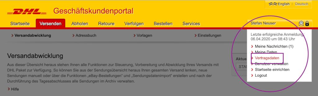 Vertragsdaten-DHL-Geschäftskundenportal