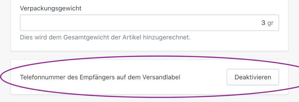 kontaktadresse auf versandlabel
