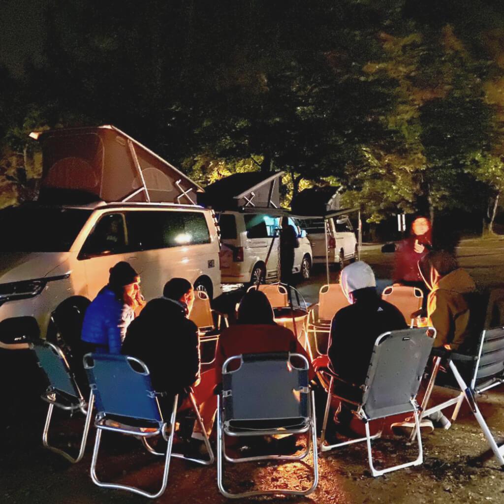 Gemütliches Zusammensitzen beim Camp and Ride im Bikepark Geisskopf