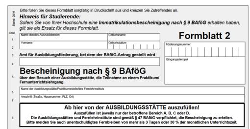 BAföG Antrag: Formblatt 2