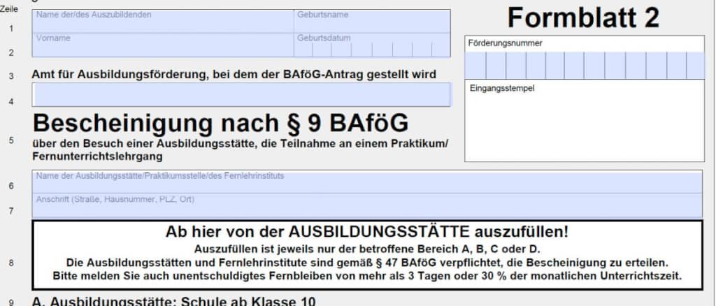 BAföG Formblatt 2 hier runterladen