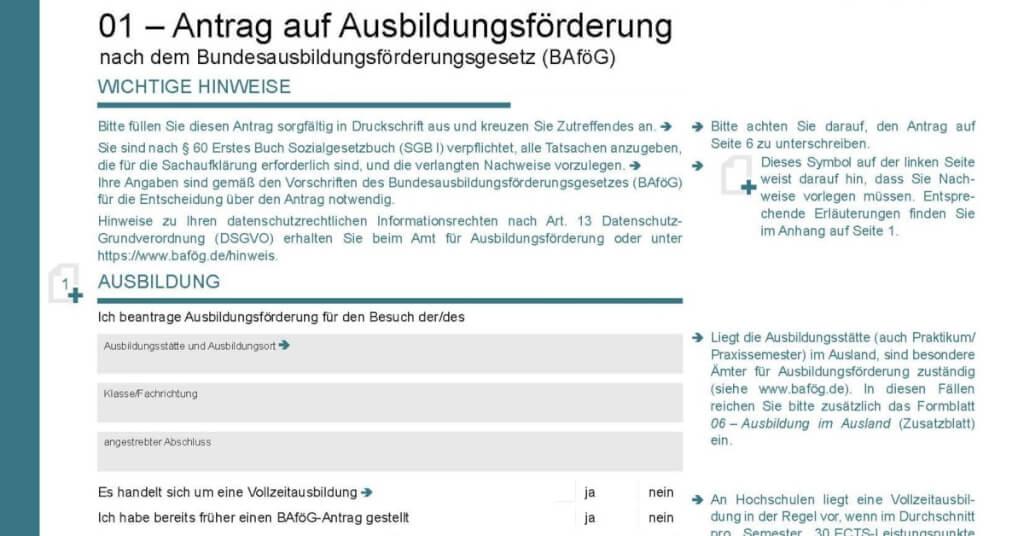 Tipps zum BAföG Formblatt 1: Fallstricke und Nachweise