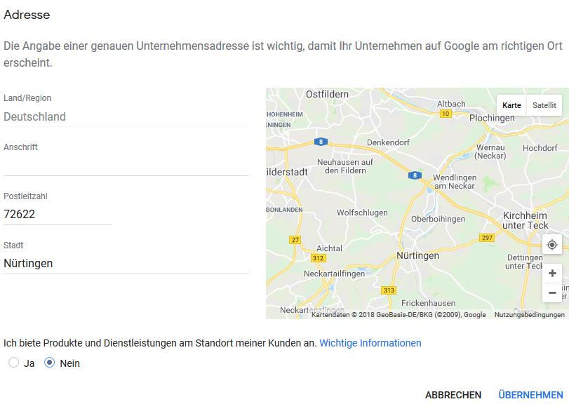 Adresse in Google My Business eingeben