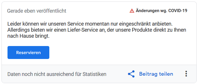 Screenshot: Corona-Update-Beitrag in Google MyBusiness