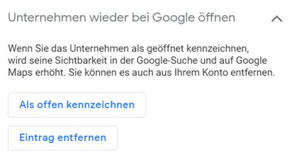 Geschlossen gekennzeichnet entfernen in Google MyBusiness