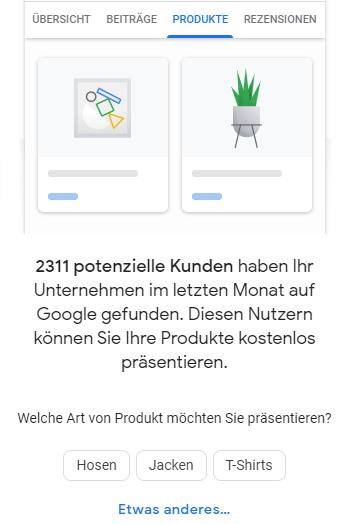Screenshot Produkte hinzufügen Schaltfläche in Google MyBusiness